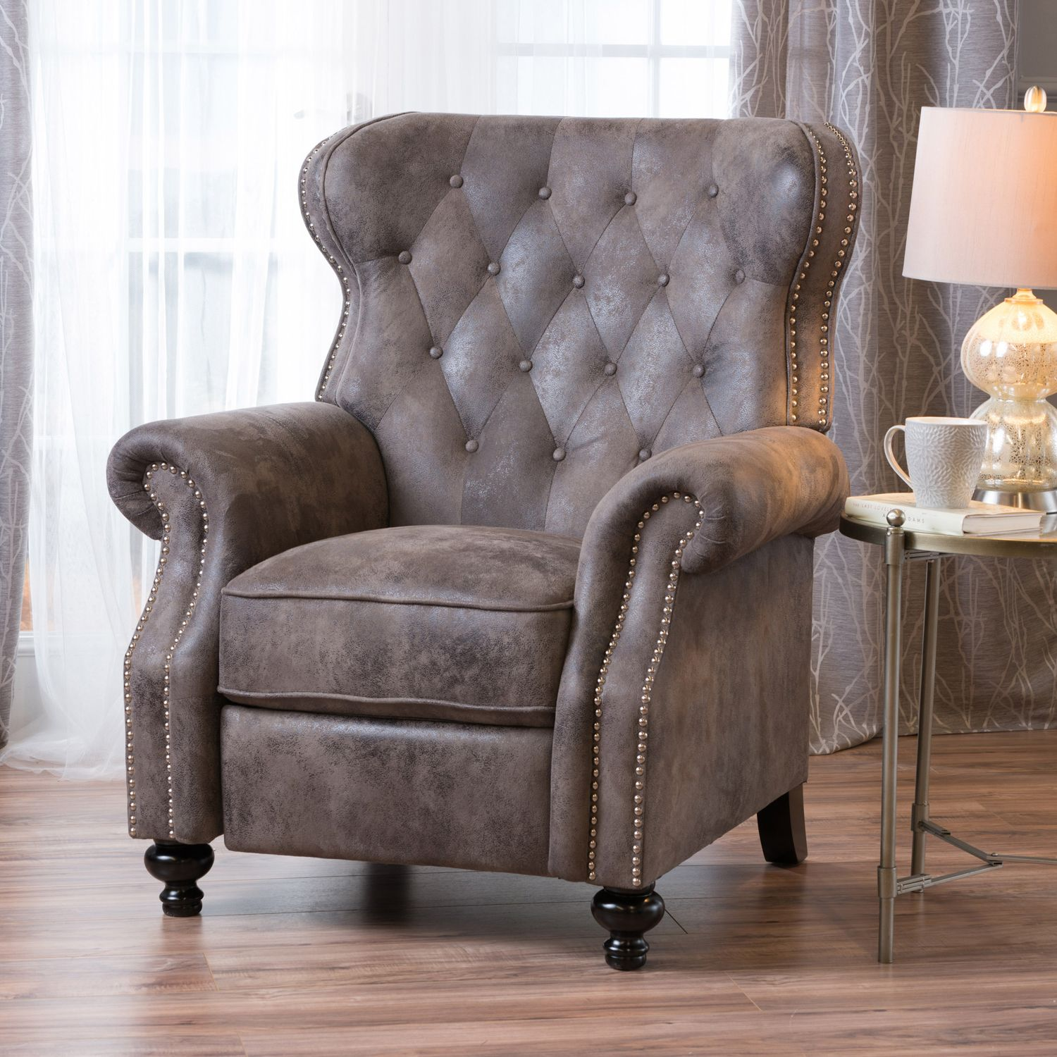 Warm Stone Tufted Microfiber Recliner | Pier 1