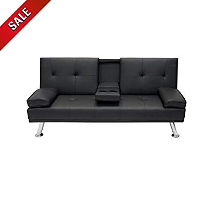 Amazon.com: Futon Sofa Bed with Cup Holder Sleeper Convertible Black