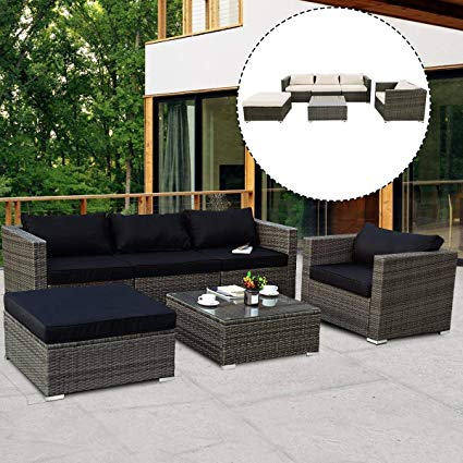 Amazon.com : Tangkula 6PCs Patio Rattan Furniture Set Modern Outdoor