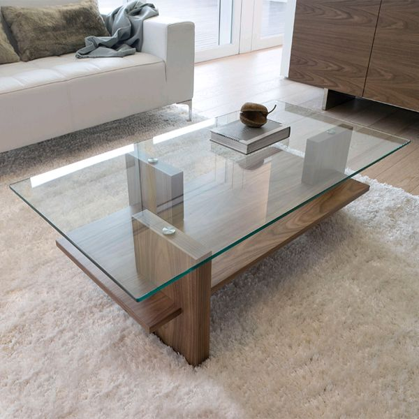 A Great Example Of Modern Glass Wood Coffee Table The Design Is