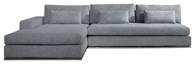 Ashfield Modern Light Grey Fabric Sectional Sofa - Contemporary