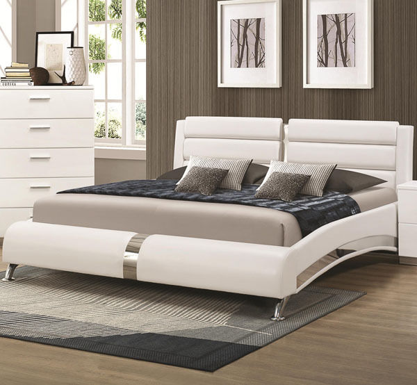 Coaster 300345KW White California King Size Bed With Metallic
