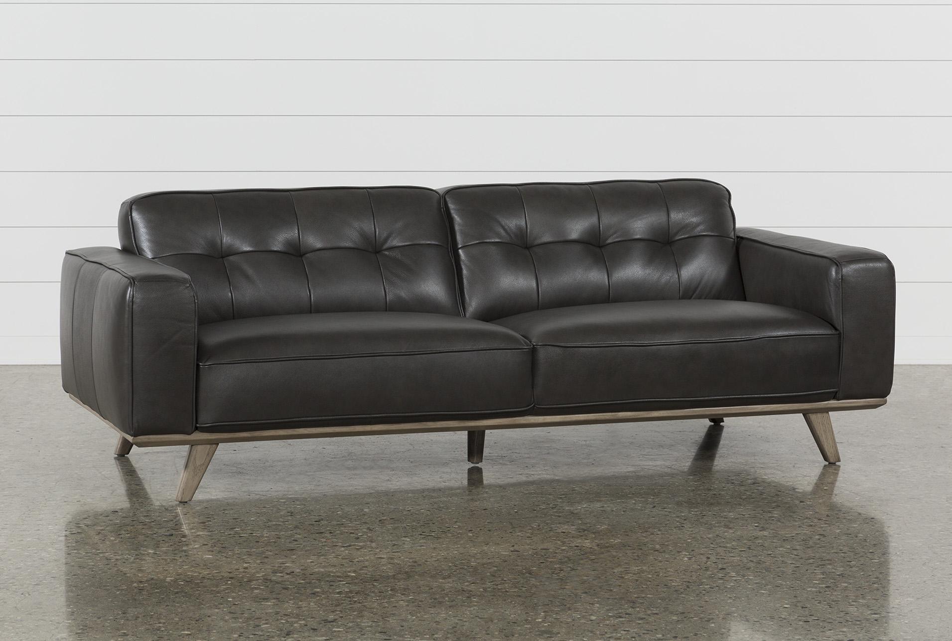 Caressa Leather Dark Grey Sofa | Living Spaces