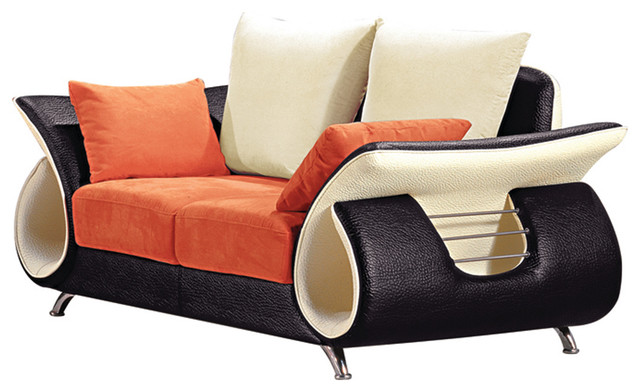 Orange And Black Modern Loveseat - Contemporary - Loveseats - by