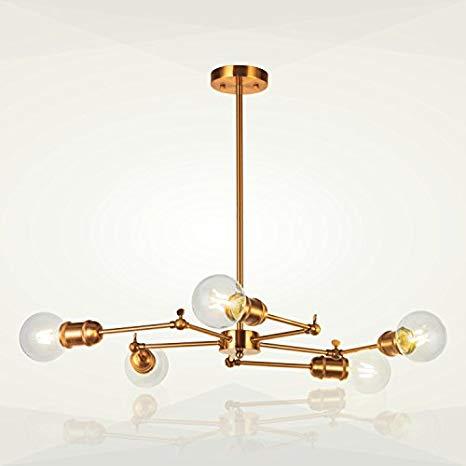 5-Light Sputnik Chandelier Lighting VINLUZ Brushed Brass Modern