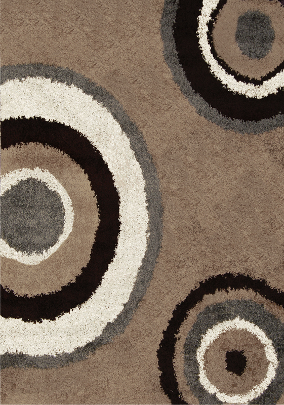 Contemporary Modern Shag Beige Gray Area Rug Swirls Shaggy Floor