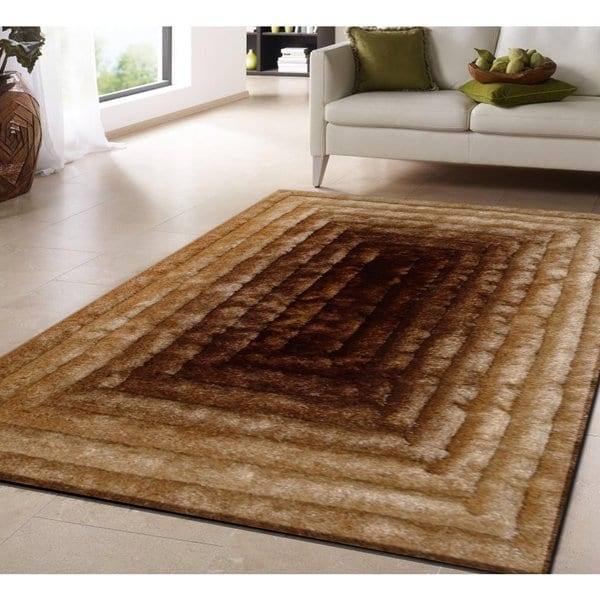 Shop Gold Brown Geometric Hand-tufted Modern Shag Rug - 5' x 7' - On