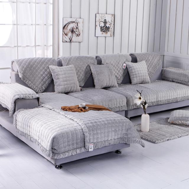Fleeced Fabric Sofa Cover European Style Soft Modern Slip Resistant