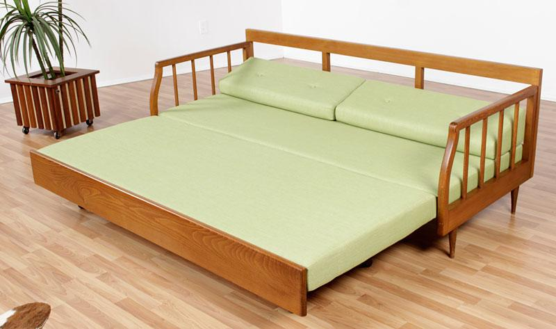Restored Mid Century Modern Sofa with Trundle Bed