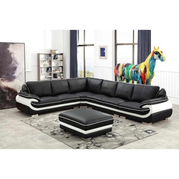 Shop Black and White Modern Contemporary Real Leather Sectional