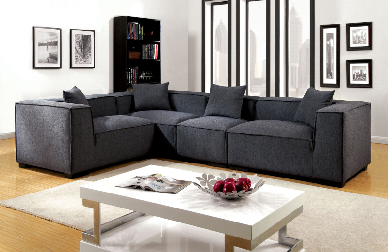 CM6037GY 4 pc langdon gray fabric modular sectional sofa set