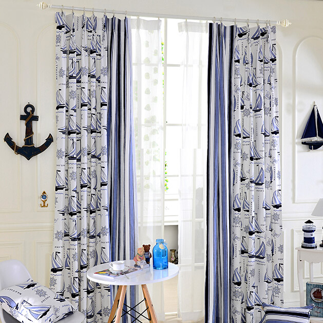 Refreshing Baby Blue/White Sailboat Nautical Curtains
