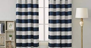 Amazon.com: Deconovo Navy Blue Striped Blackout Curtains Rod Pocket