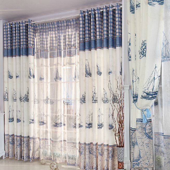 Refreshing Blue/White Poly/Cotton Nautical Curtains
