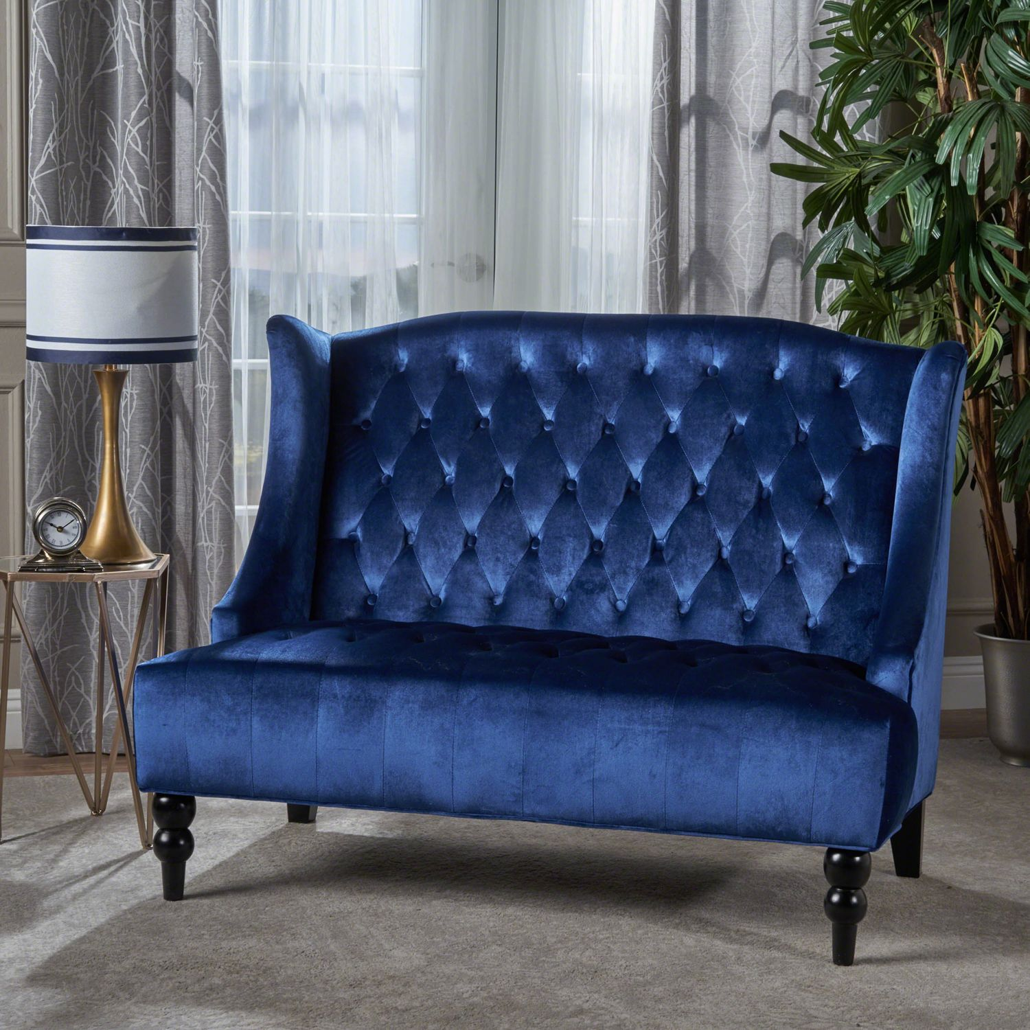 Lauren Navy Loveseat | Pier 1