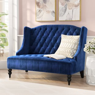 Navy Blue Velvet Loveseat | Wayfair