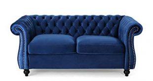 Amazon.com: Karen Traditional Chesterfield Loveseat Sofa, Navy Blue