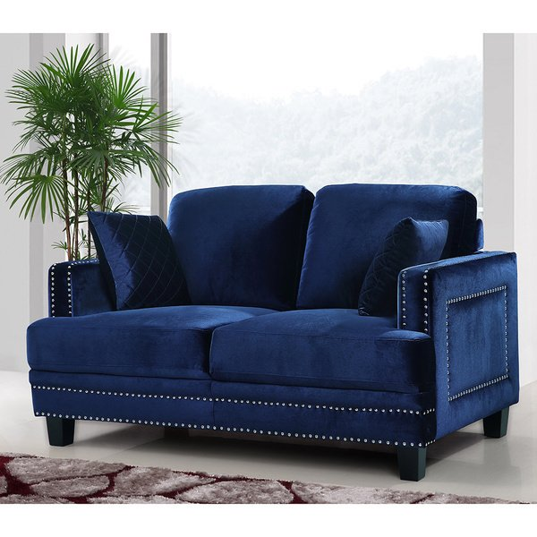 Shop Ferrara Navy Velvet Nailhead Loveseat - Free Shipping Today