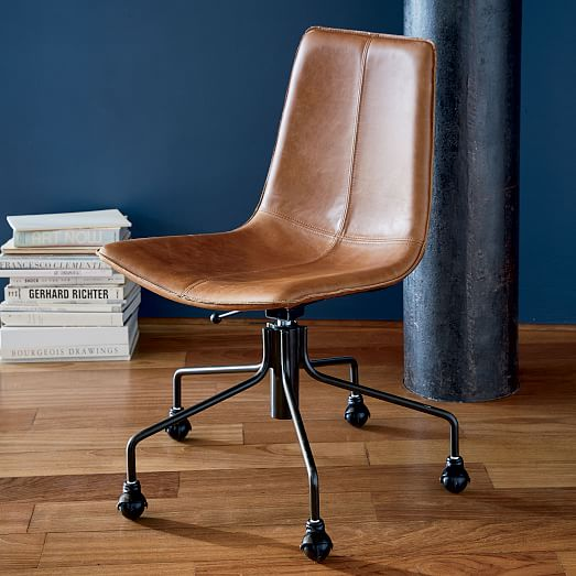 Slope Leather Swivel Office Chair   west elm