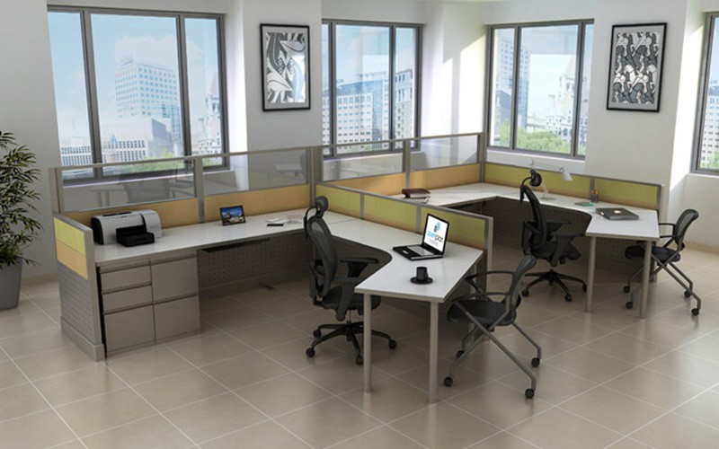 Modern Office Cubicle Design: Unique Curved L-Shape | Joyce Contract