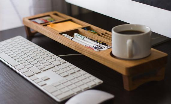 Cherry Wood Desk Organizer Office Desk Accessories | Etsy