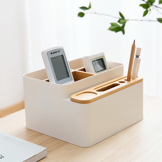 Bamboo Desk Sundry Box Office Desk Stationery Rack Desk Accessories