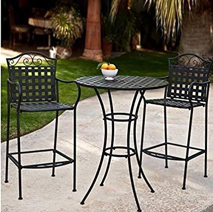 Amazon.com: 3 Piece Outdoor Bistro Set Bar Height -Black. This