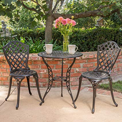 Amazon.com: Lyon Black with Bronze Metal Outdoor Bistro Set: Garden