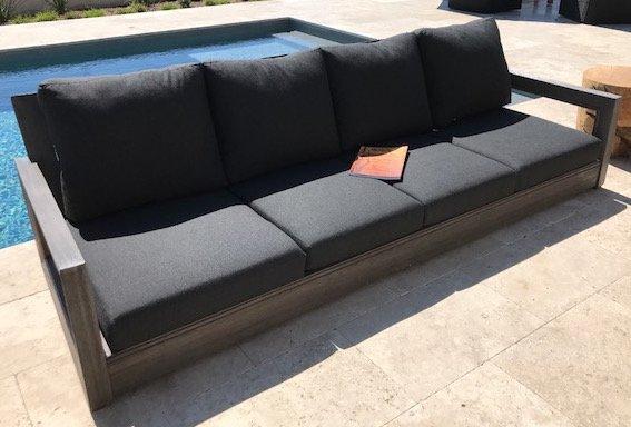 Brayden Studio Yandell Teak Outdoor Sofa with Cushions | Wayfair