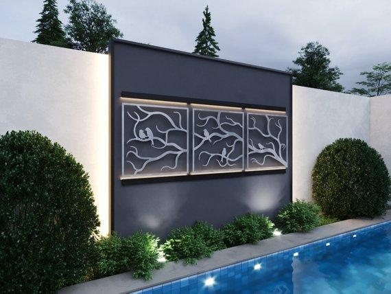 Tree Branches w/ Birds Outdoor Metal Wall Art 3 Piece Multi | Etsy