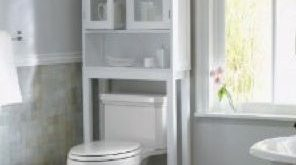 Love this storage - I'll frost the windows on a cheapie cabinet and