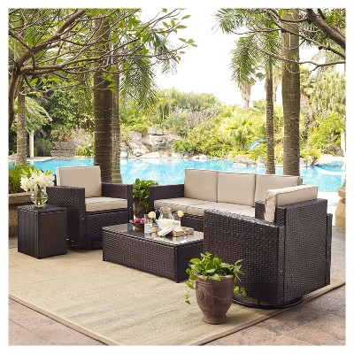 Palm Harbor 5pc All-Weather Wicker Patio Sofa Conversation Set W