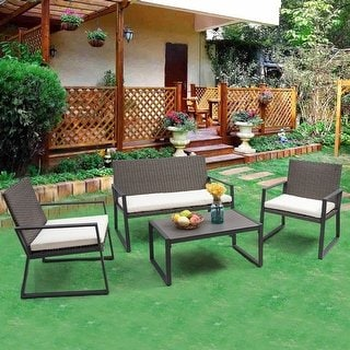Shop Costway 4PCS Rattan Patio Furniture Set Wicker Cushioned Seat