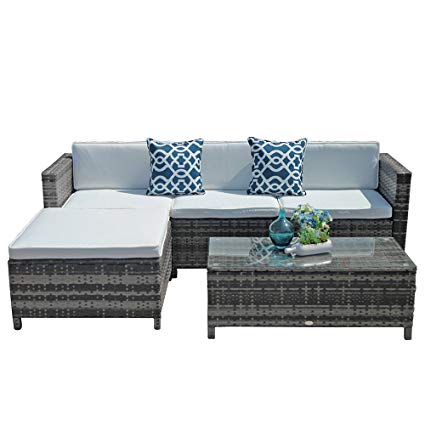 Amazon.com : Outdoor Patio Furniture Set, 5pc PE Wicker Rattan