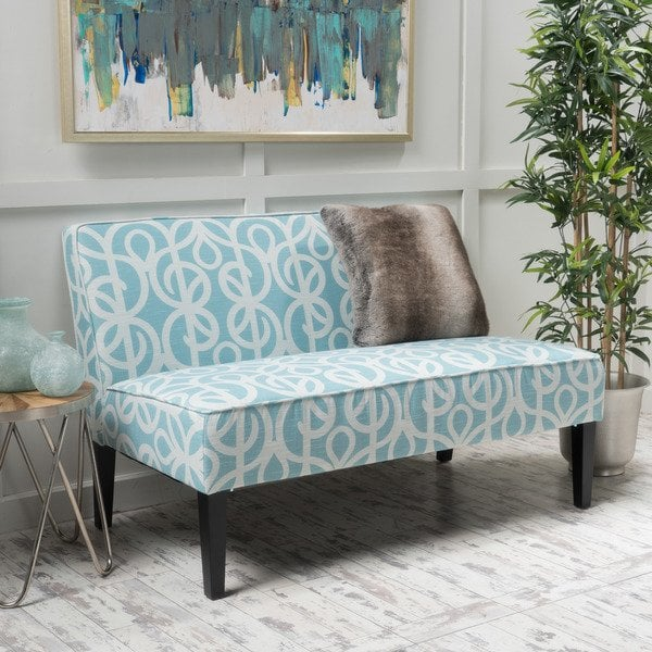 Patterned loveseat for a contemporary   style of home