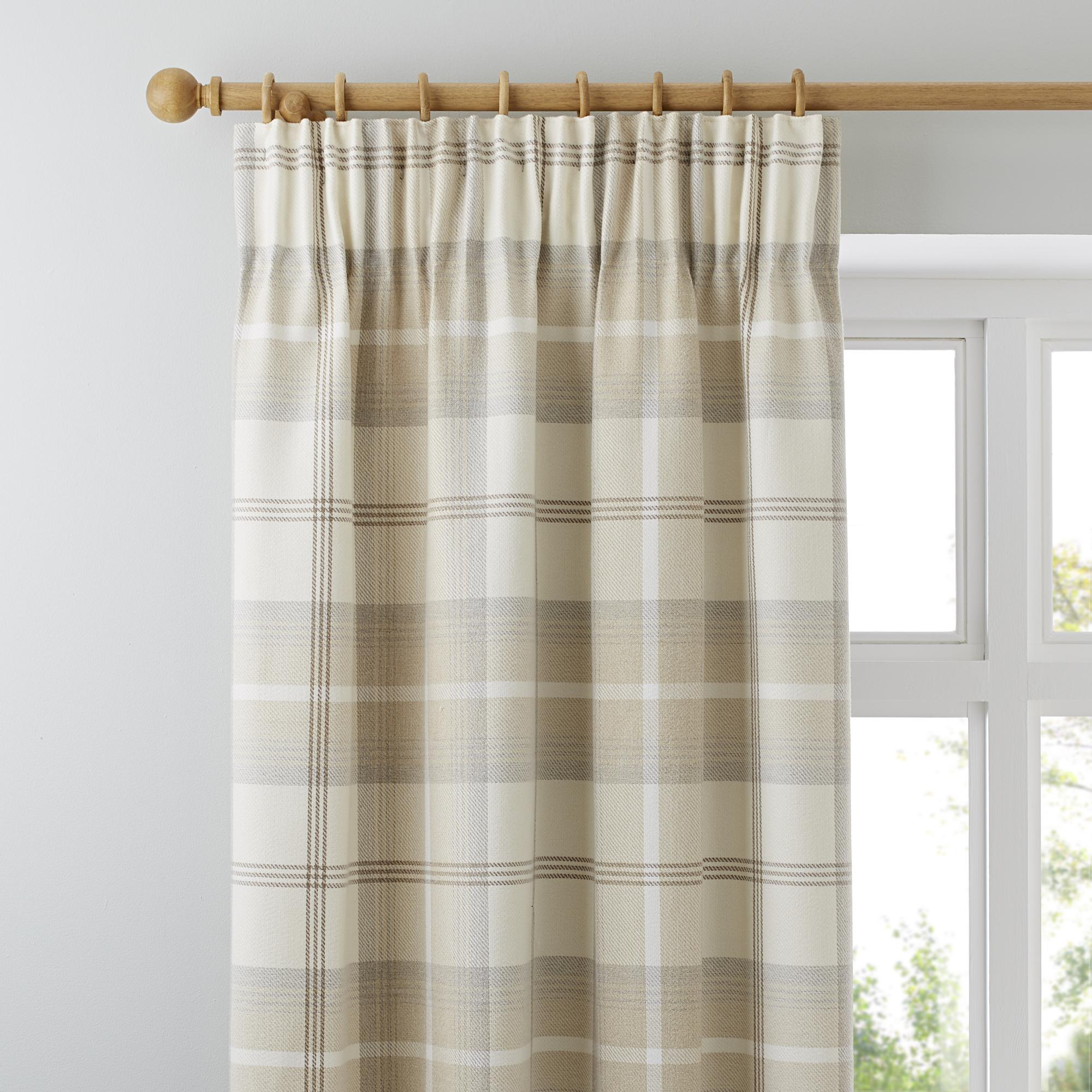 Highland Check Natural Lined Pencil Pleat Curtains | Dunelm