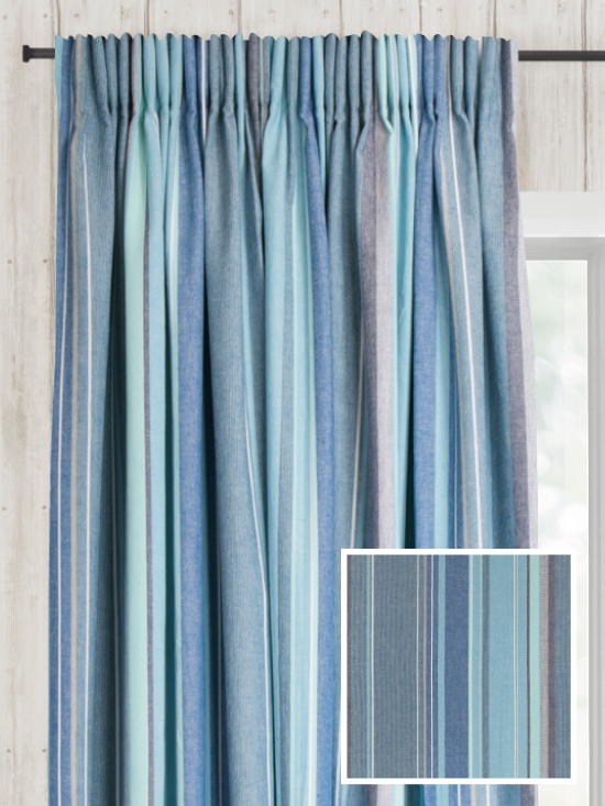 Ready Made Pencil Pleat Curtains In Azure - Natural Curtain Company