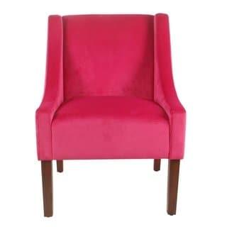 Shop Porch & Den Lyric Pink Velvet Swoop Arm Accent Chair - On Sale