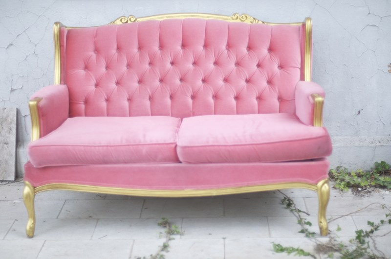 Pink Tufted Loveseat - Something Vintage Rentals