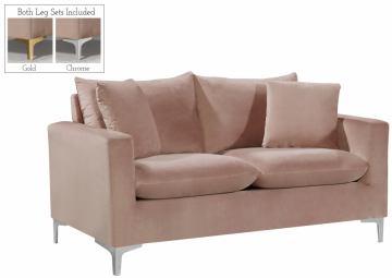 Meridian Naomi Velvet Loveseat in Pink 633Pink-L