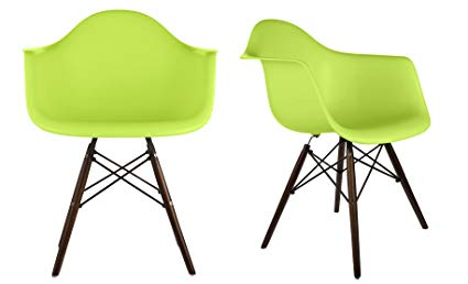 Amazon.com - DAW Green Plastic Armchair with Dark Oak Wood Eiffel