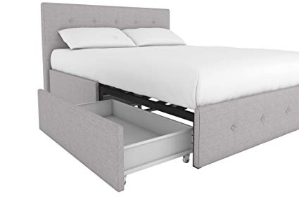 Amazon.com: DHP 4155439 Rose Upholstered Bed with Tufted Detail and