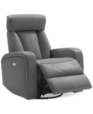 Furniture Dasia Leather Swivel Rocker Power Recliner with