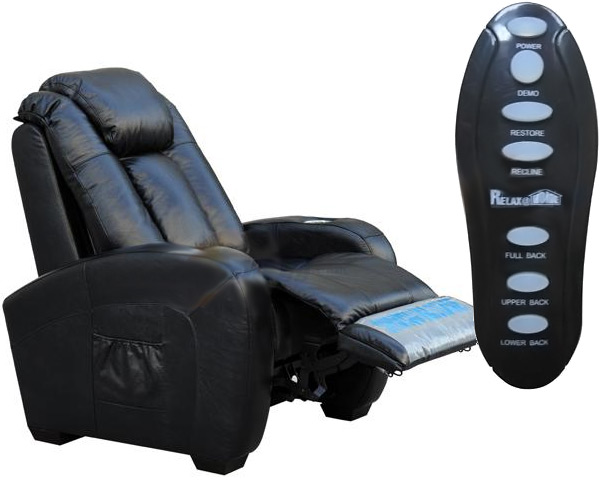 Home Theater Leather Power Recliners with Shiatsu Massage & Cupholders