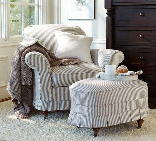 re-slip my chair + ottoman in gray ticking | Slipcovers to sew