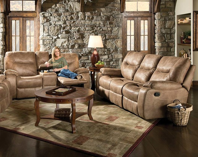 Poncho Sand Reclining Sofa and Loveseat - Transitional - Sofas