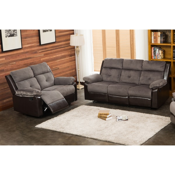 Shop Stanford Grey/Chocolate Reclining Sofa and Loveseat Set - Free