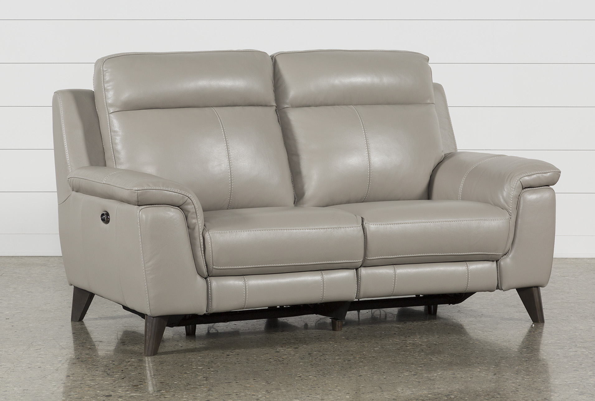 Moana Taupe Leather Dual Power Reclining Loveseat With Usb | Living