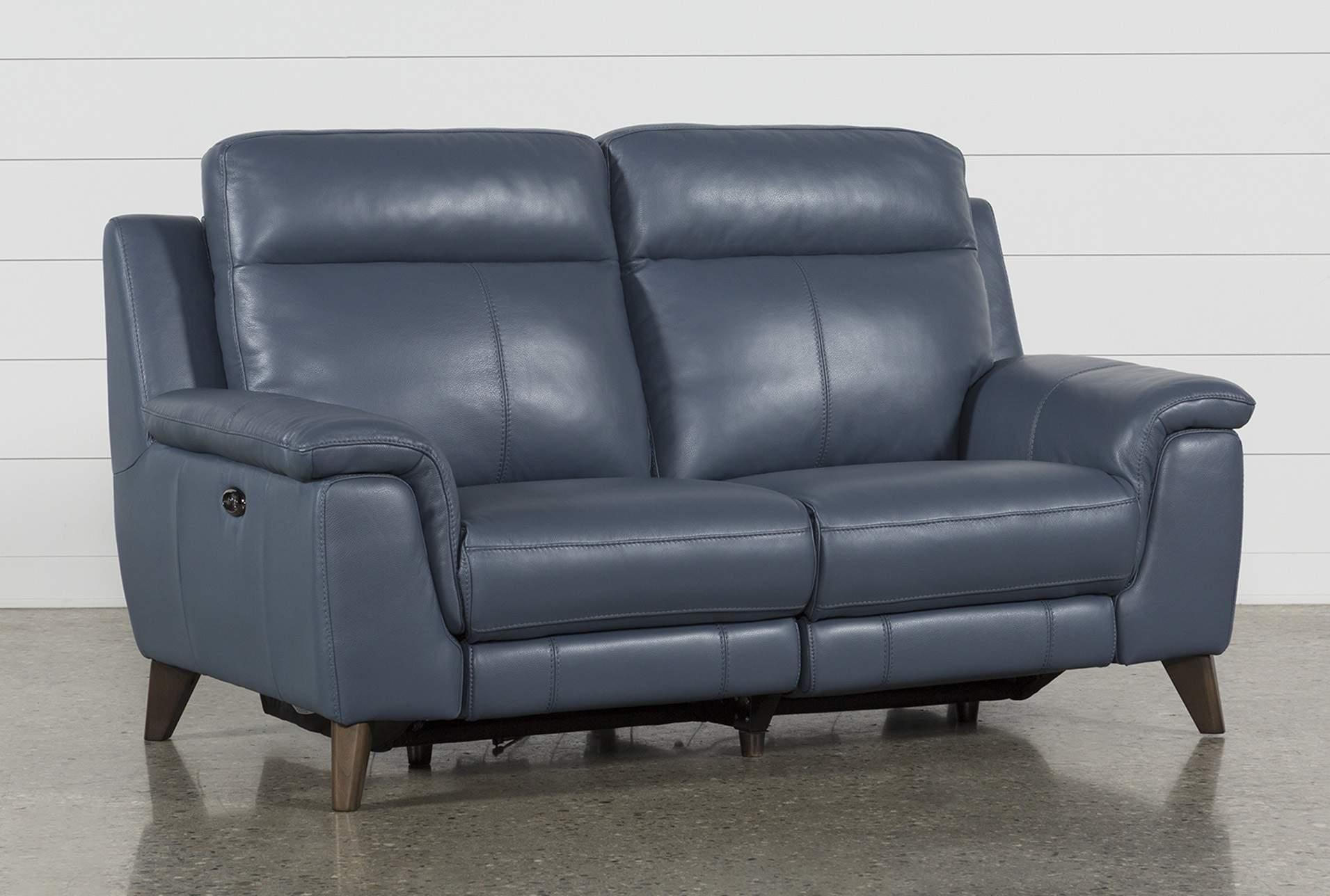 Moana Blue Leather Dual Power Reclining Loveseat With Usb | Living