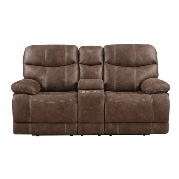 Shop Emerald Sanded Brown Microfiber Dual Reclining Loveseat with